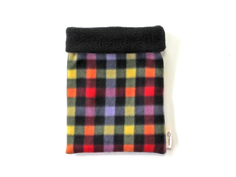 ハリネズミ用寝袋 M(冬用) フリース×フリース チェック ブラック