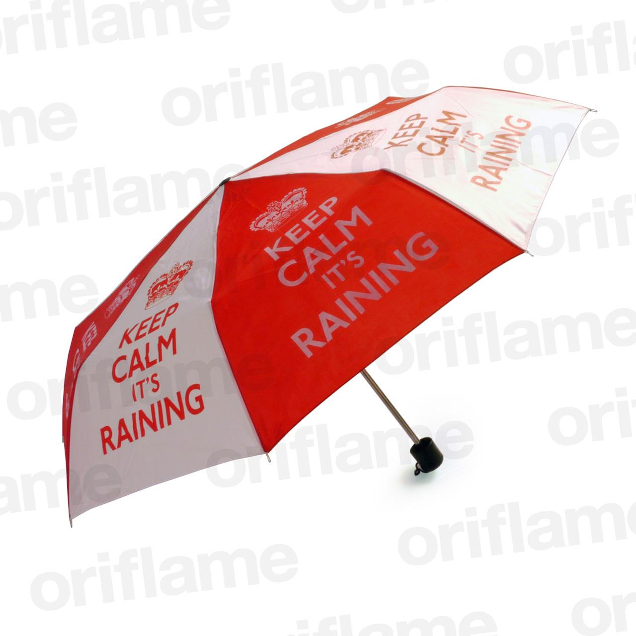 傘・折りたたみ・Keep Calm it's Raining・プラスチックグリップ