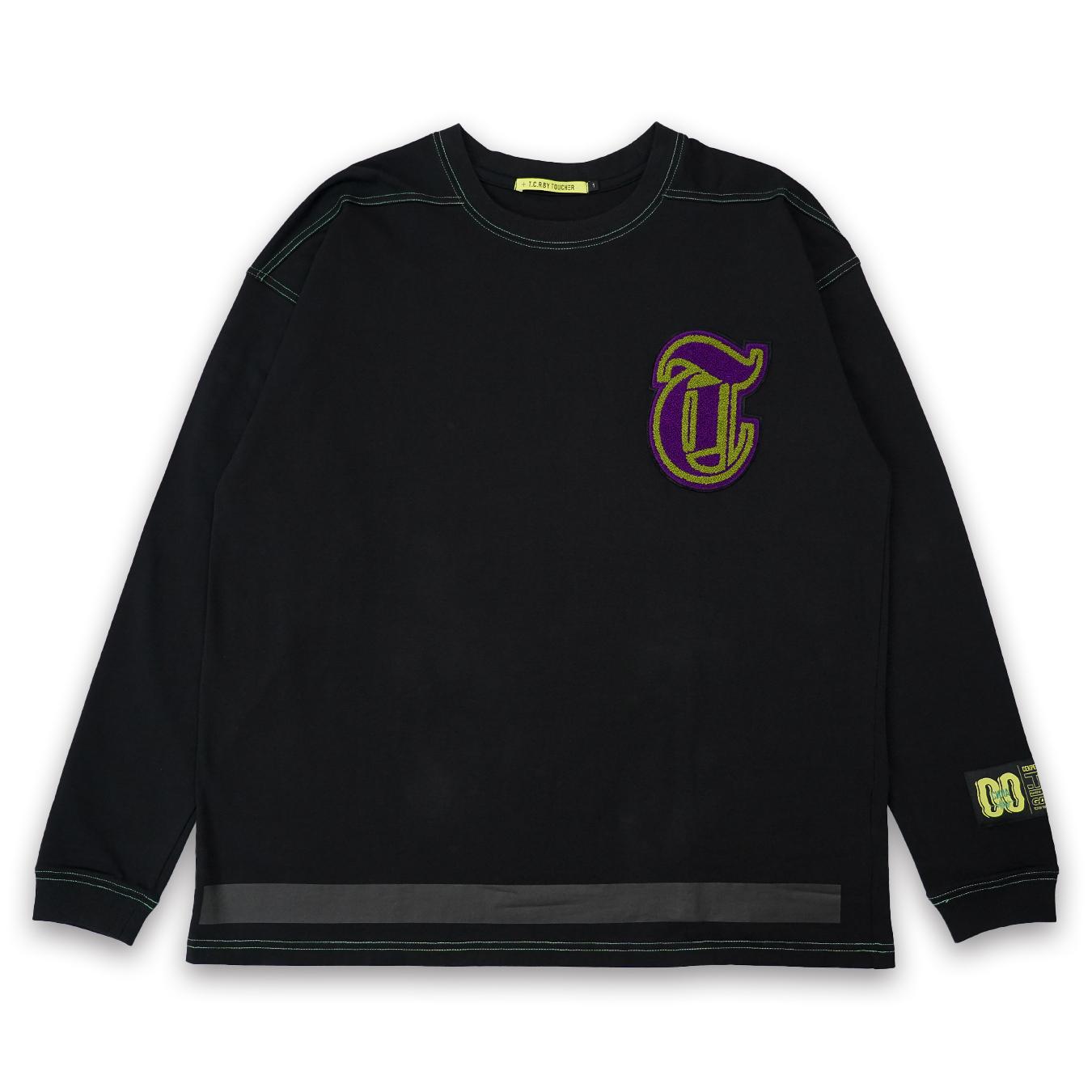 T.C.R CHENILLE LOGO L/S TEE - BLACK