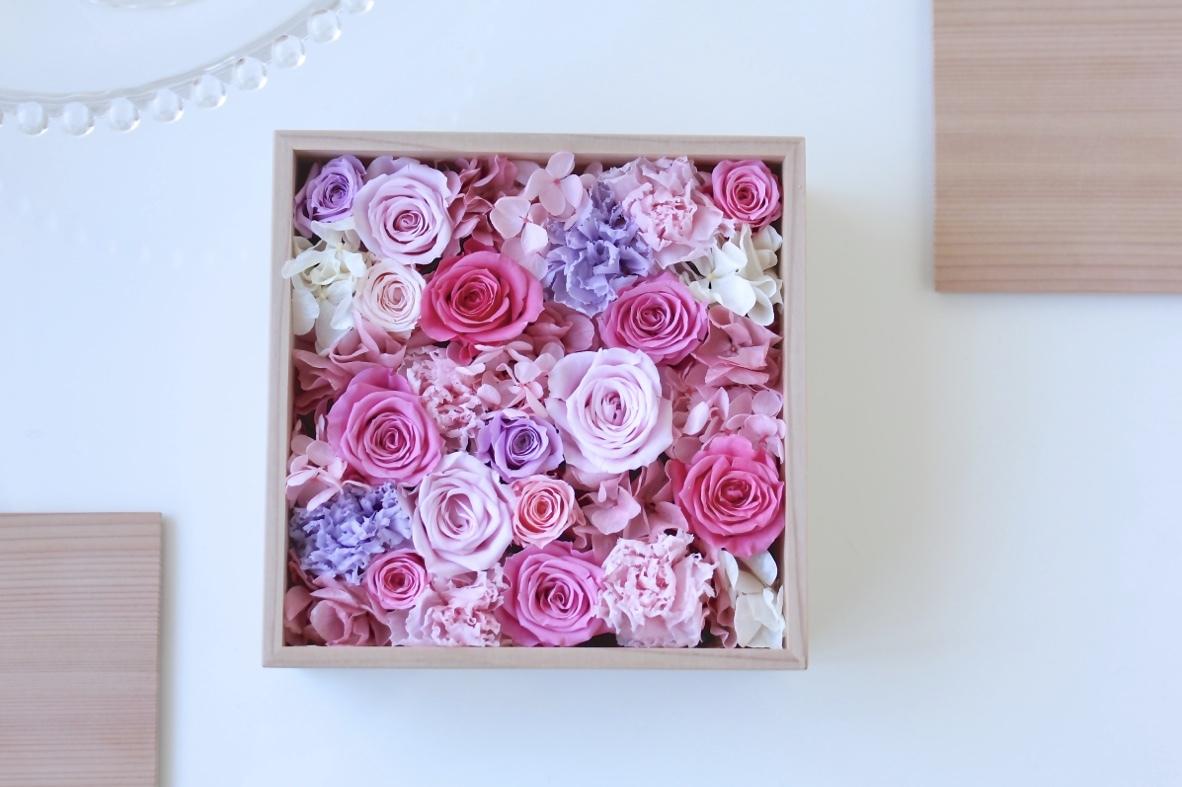 プリザーブドフラワー・ギフト・秋田杉箱花16 -pink-