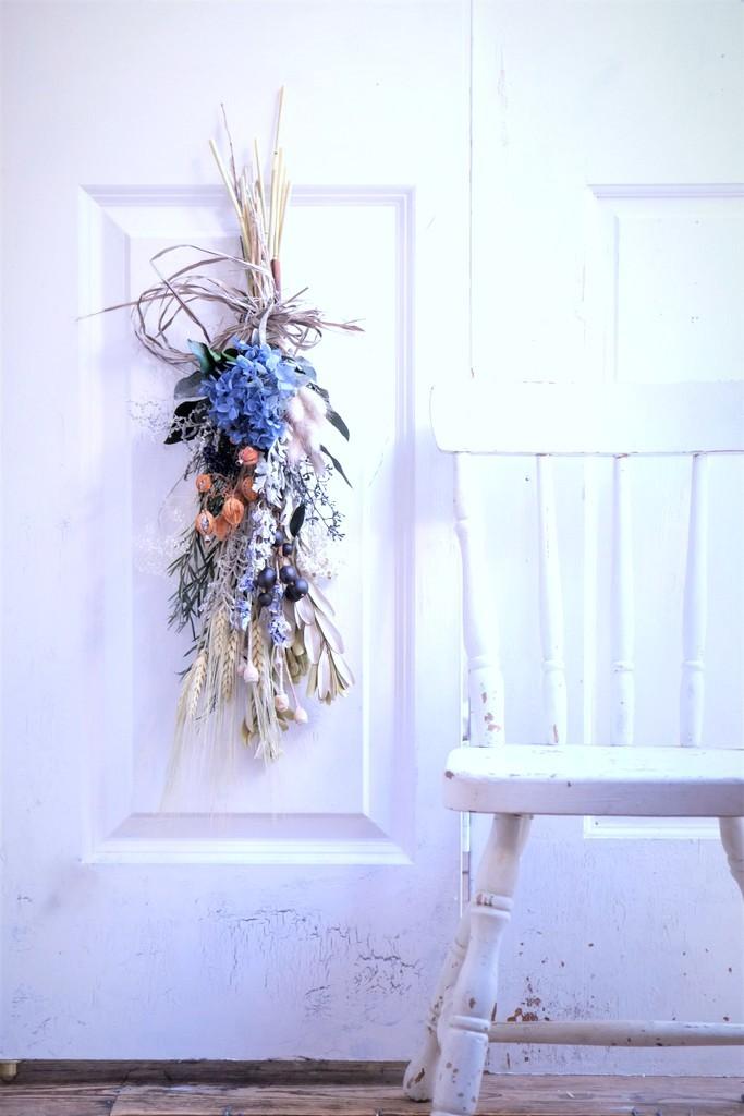 プリザーブドフラワーの花束スワッグ  〖 La Nature bleu ラ・ナチュール ブル  〗