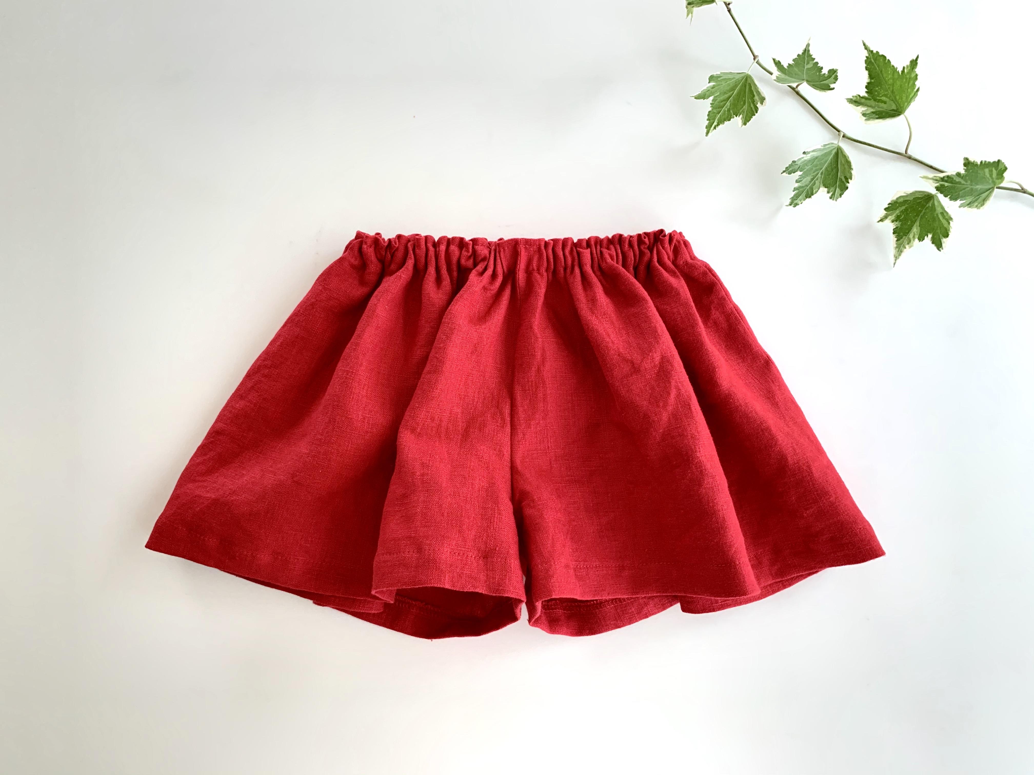 リネンのキュロットスカート 赤 80cm