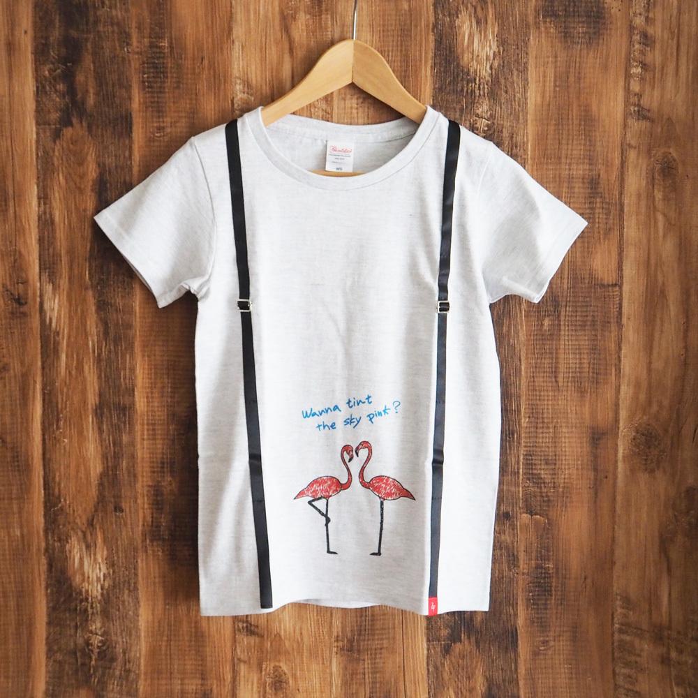 【半額】レディースTシャツ[フラミンゴ]アッシュ《 送料無料 》