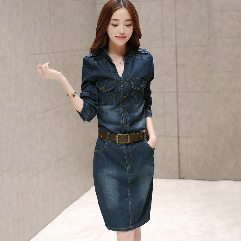 【ワンピース】ファッションVネック 長袖 スリム ファッション デニムワンピース18561326