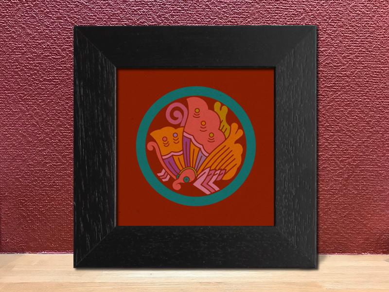 「丸に揚羽蝶」家紋アートフレーム カラフル 家紋額縁 リビングルームに合う家紋 敬老の日、初節句 結婚、出産、新築祝いに
