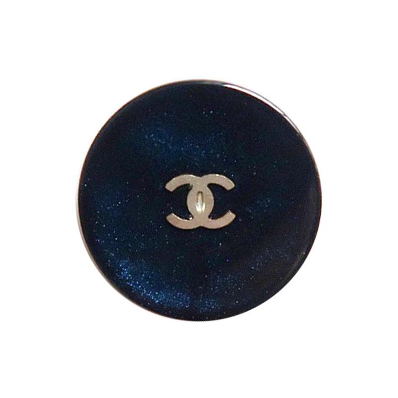 【VINTAGE CHANEL BUTTON】オーロラネイビー シルバーミニココマークボタン 1.8cm