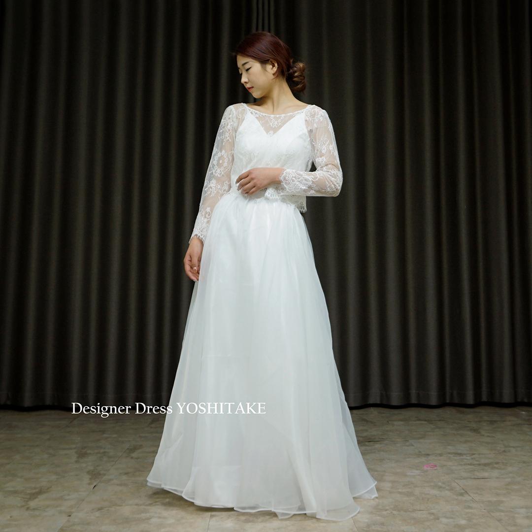 【オーダー制作】ウエディングドレス(無料パニエ) セパレート・カジュアル・ウエディング白ドレス(3点ボレロ・インナー・スカート)※制作期間3週間から6週間