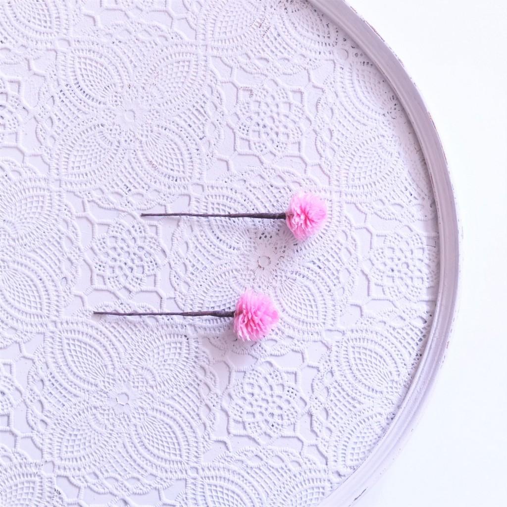 〖 千日紅・クリスタルピンク のヘッドドレスパーツ2本 〗お好きなプリザ花材をカスタムメイドでお作り致します