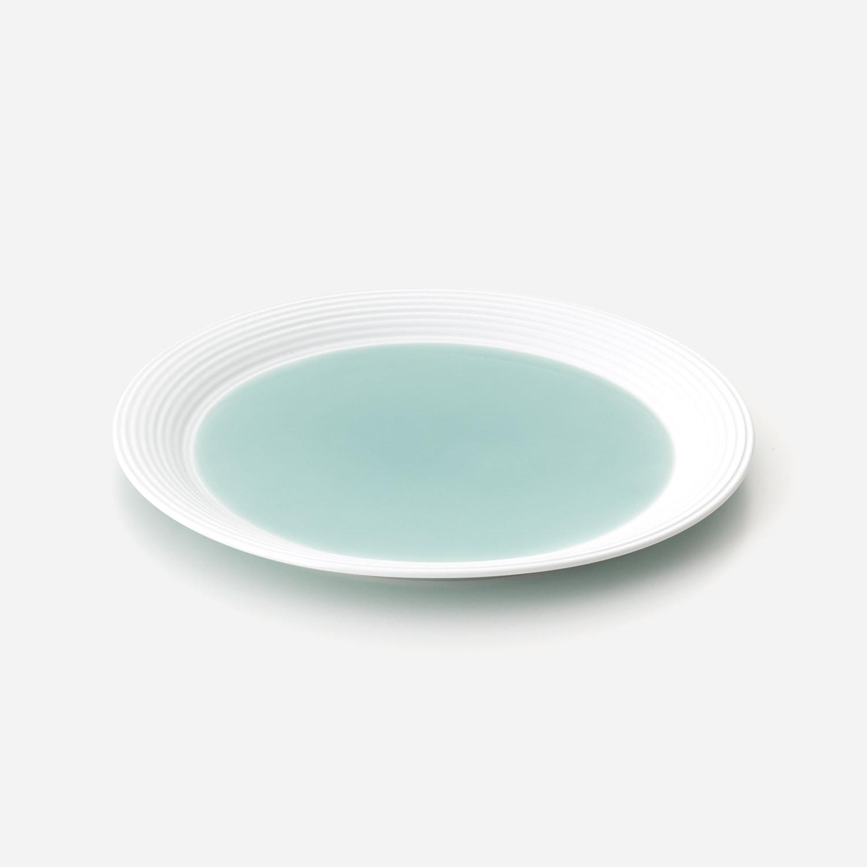 青磁白彩 プレート皿 (約24.7センチ)