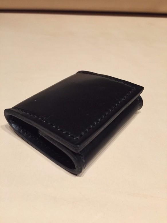 手縫い コインケース パース ブラック