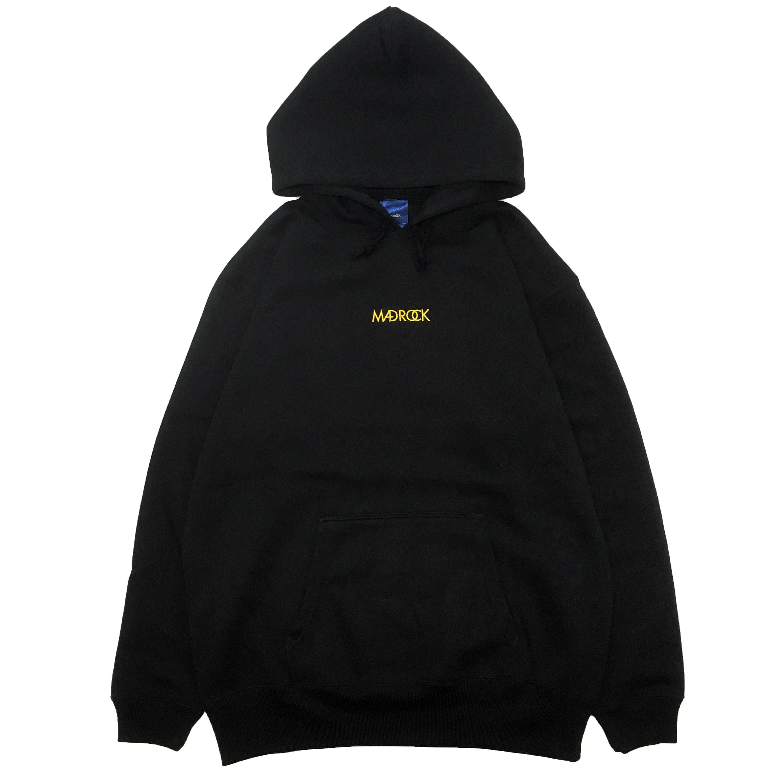【新色】マッドロック / エンブロイダリースウェットパーカー / ブラック&ゴールド