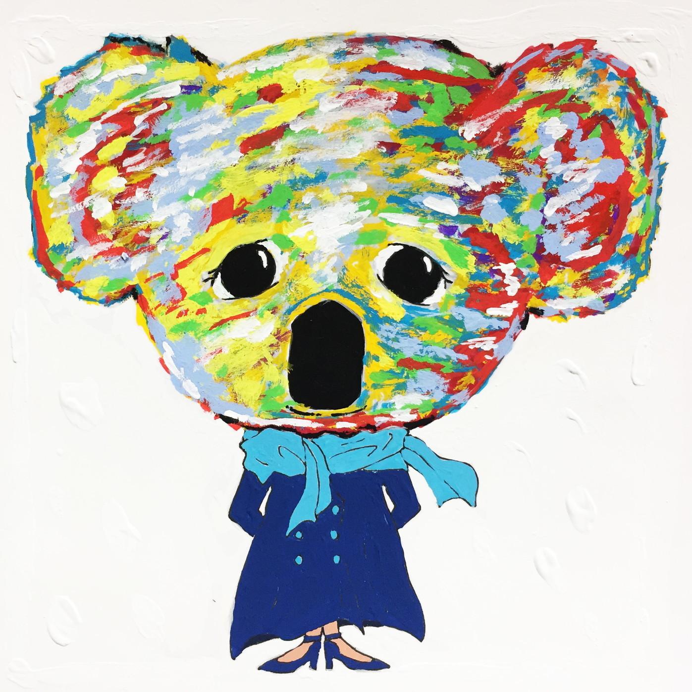絵画 インテリア アートパネル 雑貨 壁掛け 置物 おしゃれ アクリル画 イラスト コアラ 動物 ロココロ 画家 : yuki 作品 : 哀愁