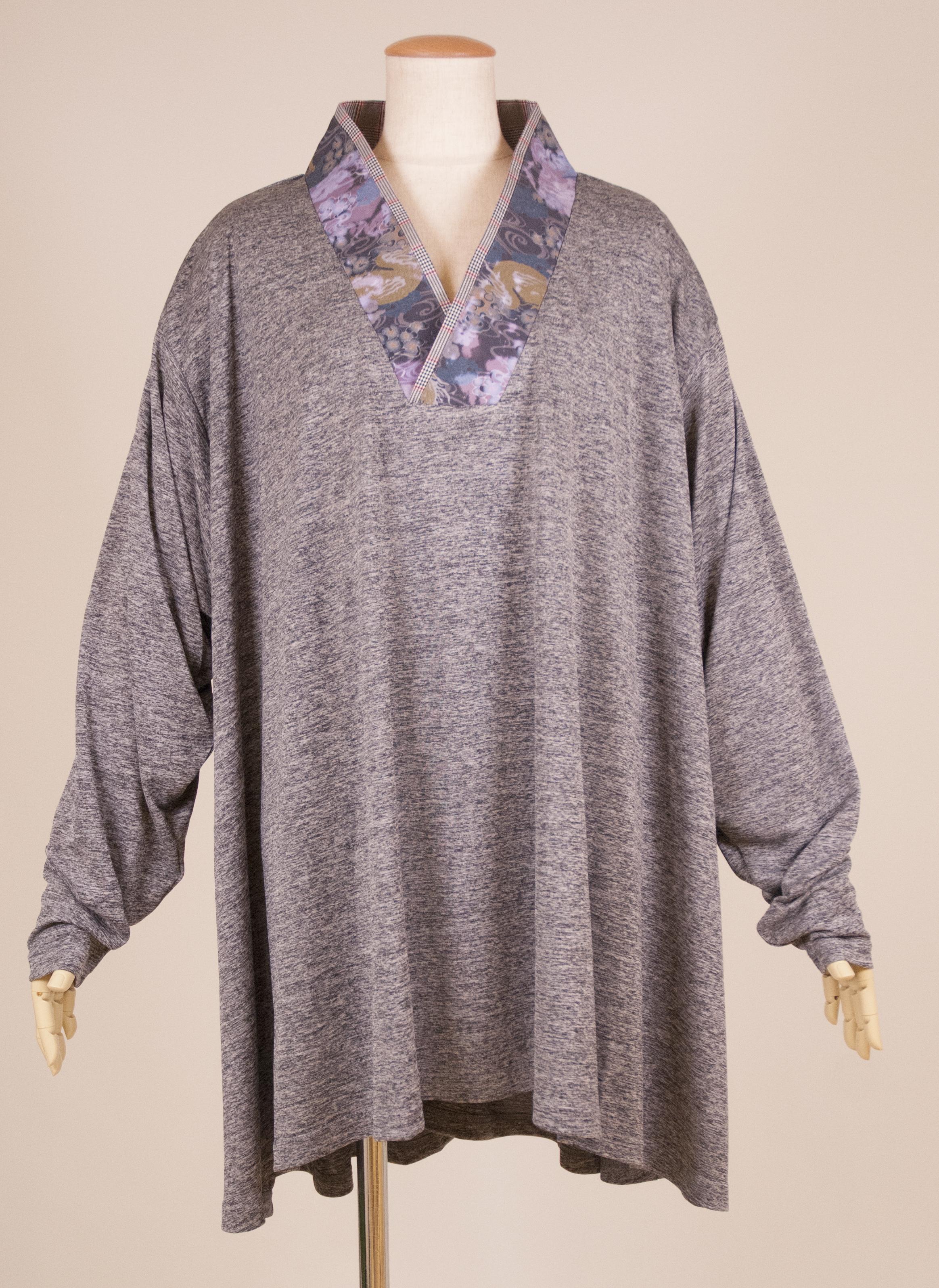 gouk侍 グレンチェックと和柄を組み合わせた着物襟のトップス GGD28-T831 GY/MM