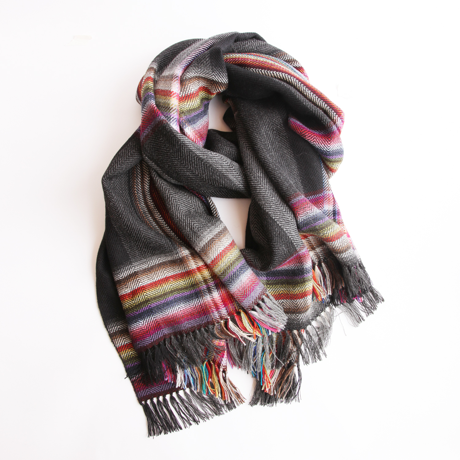 THE INOUE BROTHERS/Multi Coloured Scarf/Black