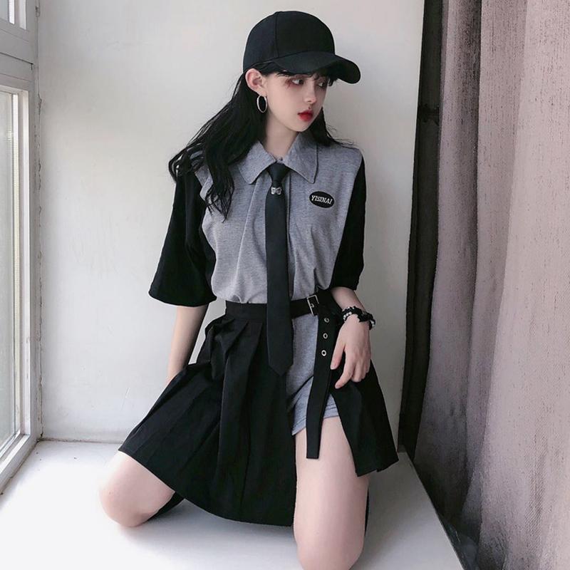 【set】[単品注文]ストリート系配色シャツ+スカートセットアップ21904508