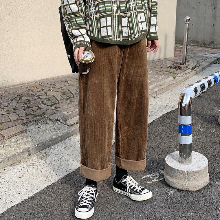 【即納】【送料無料】メンズっぽ ボトム ♡ コーデュロイ ストレート ロールアップ カジュアル パンツ