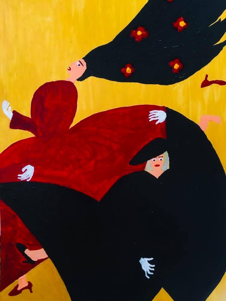 【8/29-9/8期間限定!菊沢将憲最初期絵画展作品】  ドレスの女たち2  230mm×310mm白い額縁付き