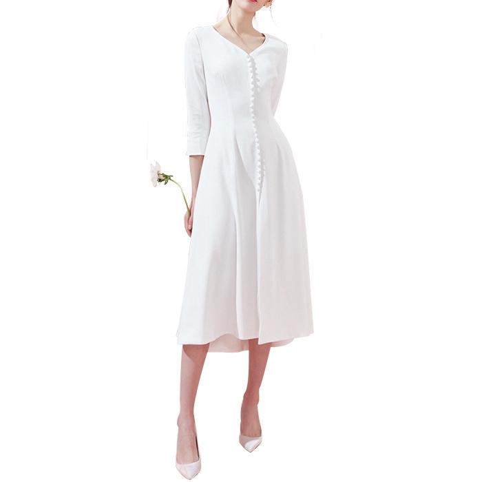Vネック 長袖 ホワイトドレス ウエディング ミモレ丈 白 ワンピース