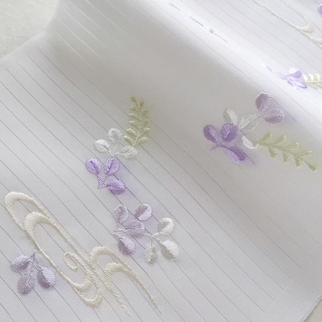 夏用 絽 刺繍半衿 薄紫色_萩