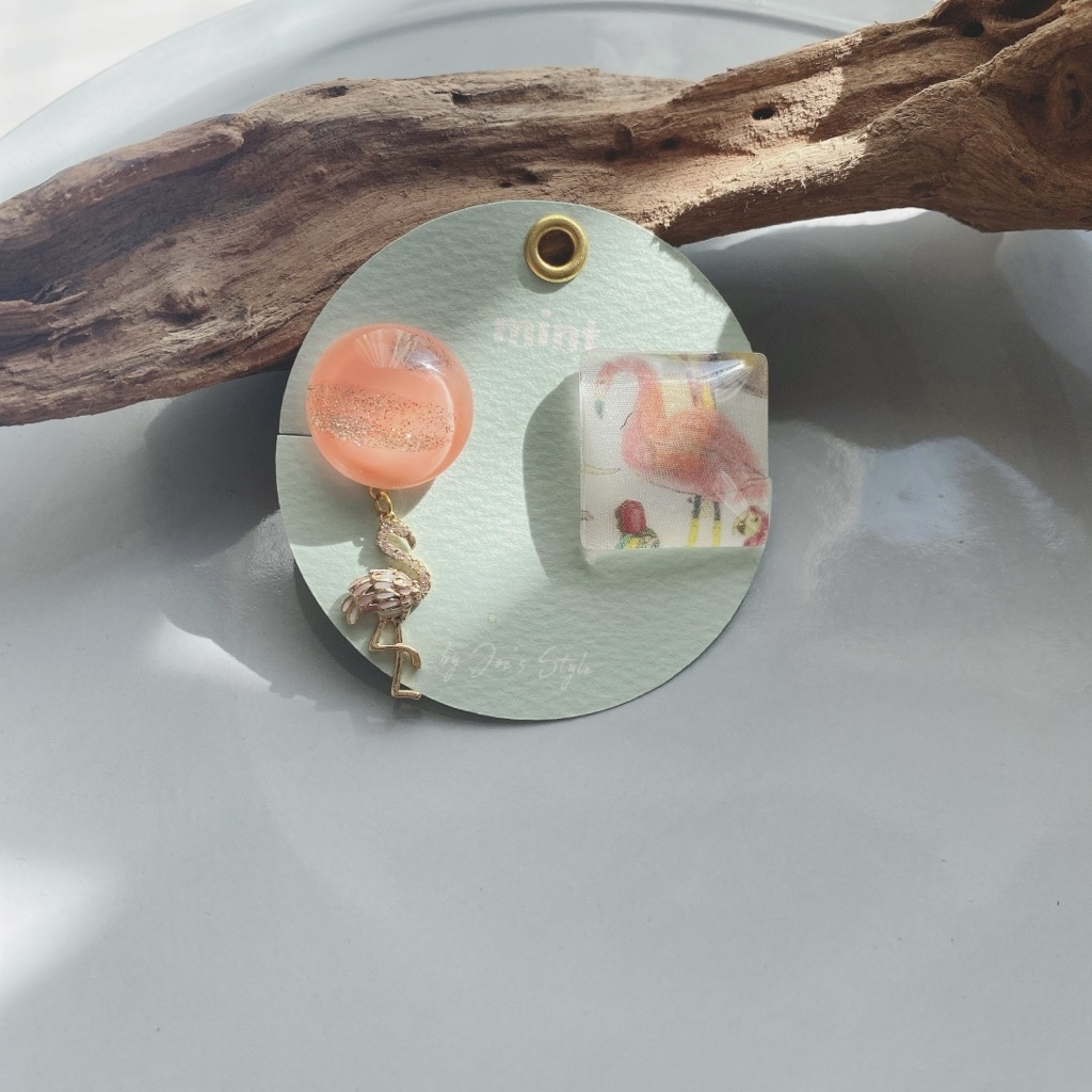 """ Earrings NO.danoan-1-1466″ フラミンゴアシメ"