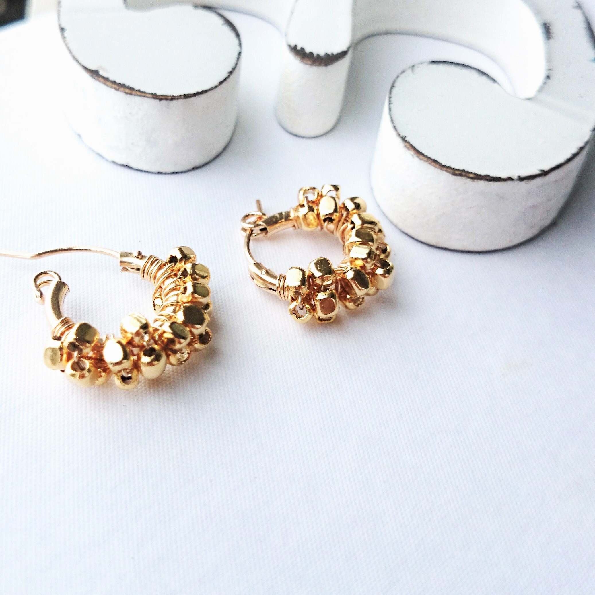 送料無料 14kgf*gold square metal wrapped hoop pierced earring