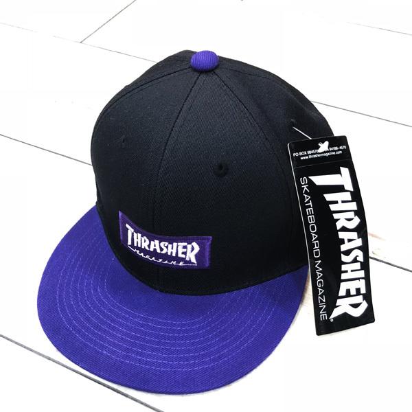 THRASHER (スラッシャー)  ボックスロゴ キャップ ブラック/パープル 17TH-C54