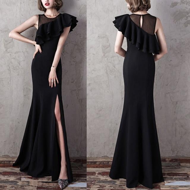ラッフル&深スリット ロングブラックドレス