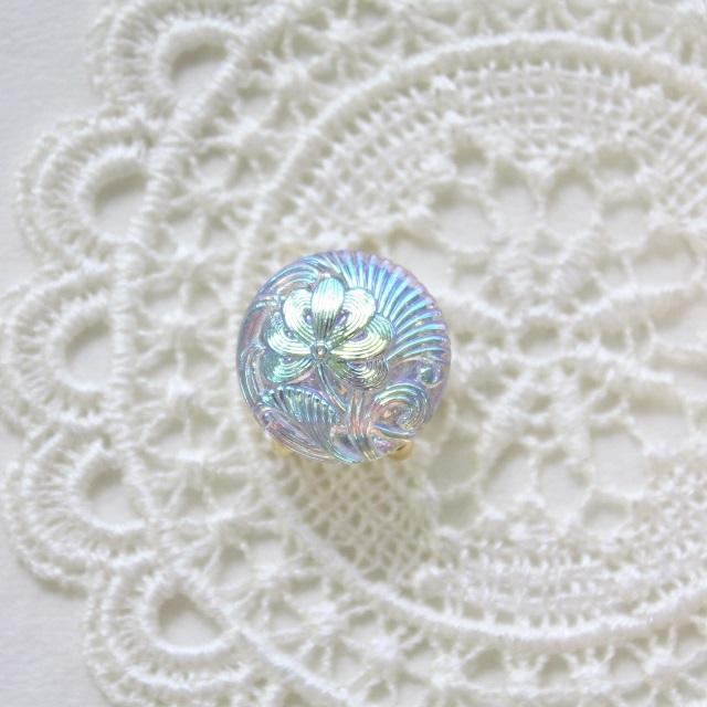 【帯留め】チェコガラス ライトブルー