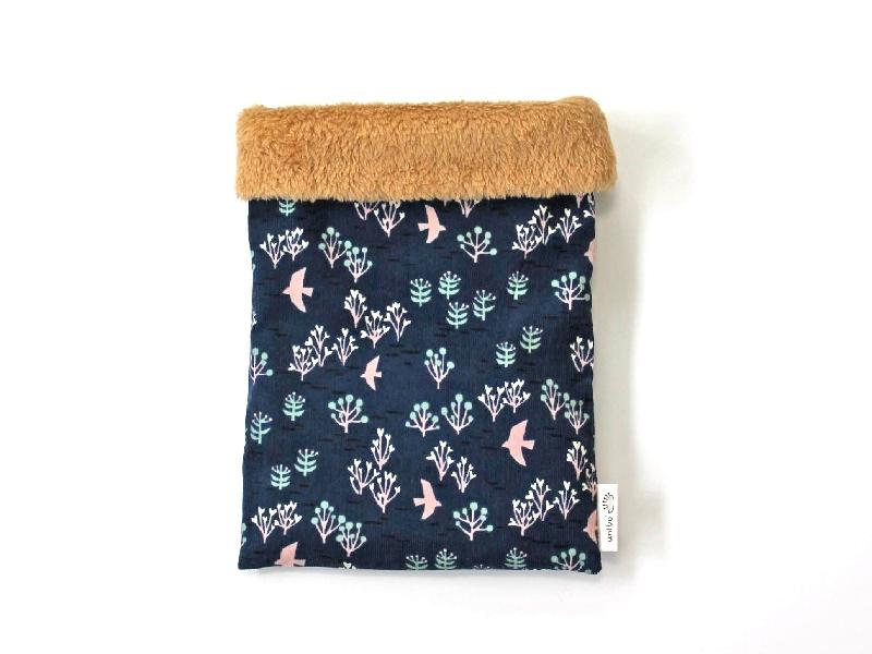 ハリネズミ用寝袋 M(冬用) コーデュロイ×ボアフリース 鳥と森 ネイビー