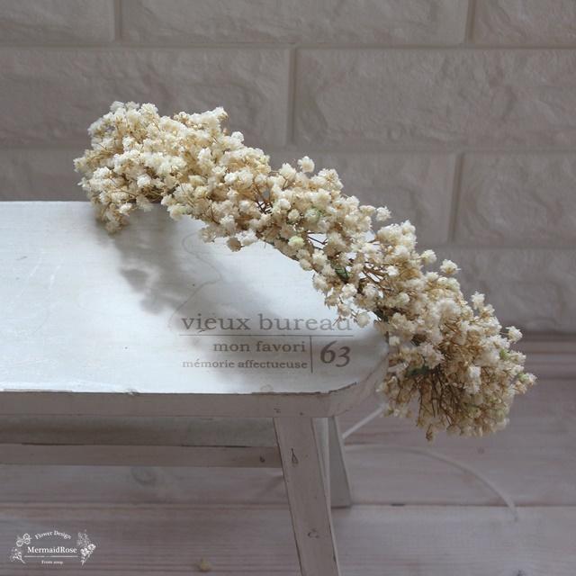 ラスティックかすみ草の花冠*オフホワイト【レイウェディング3月号モデル着用掲載品】