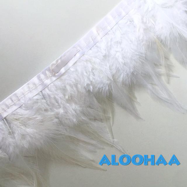 フェザーロール【ホワイト】単色10-15cm丈 1m DIY 羽 衣装材料 タヒチアン