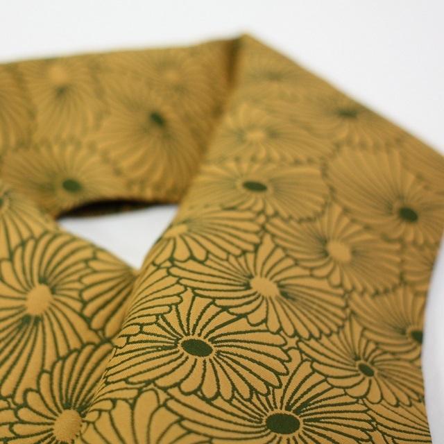 【半衿】ふくれ織りリバーシブル 深緑×桑茶色