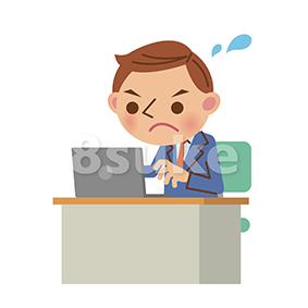 イラスト素材:ノートパソコンを使うビジネスマン/真剣な表情(ベクター・JPG)