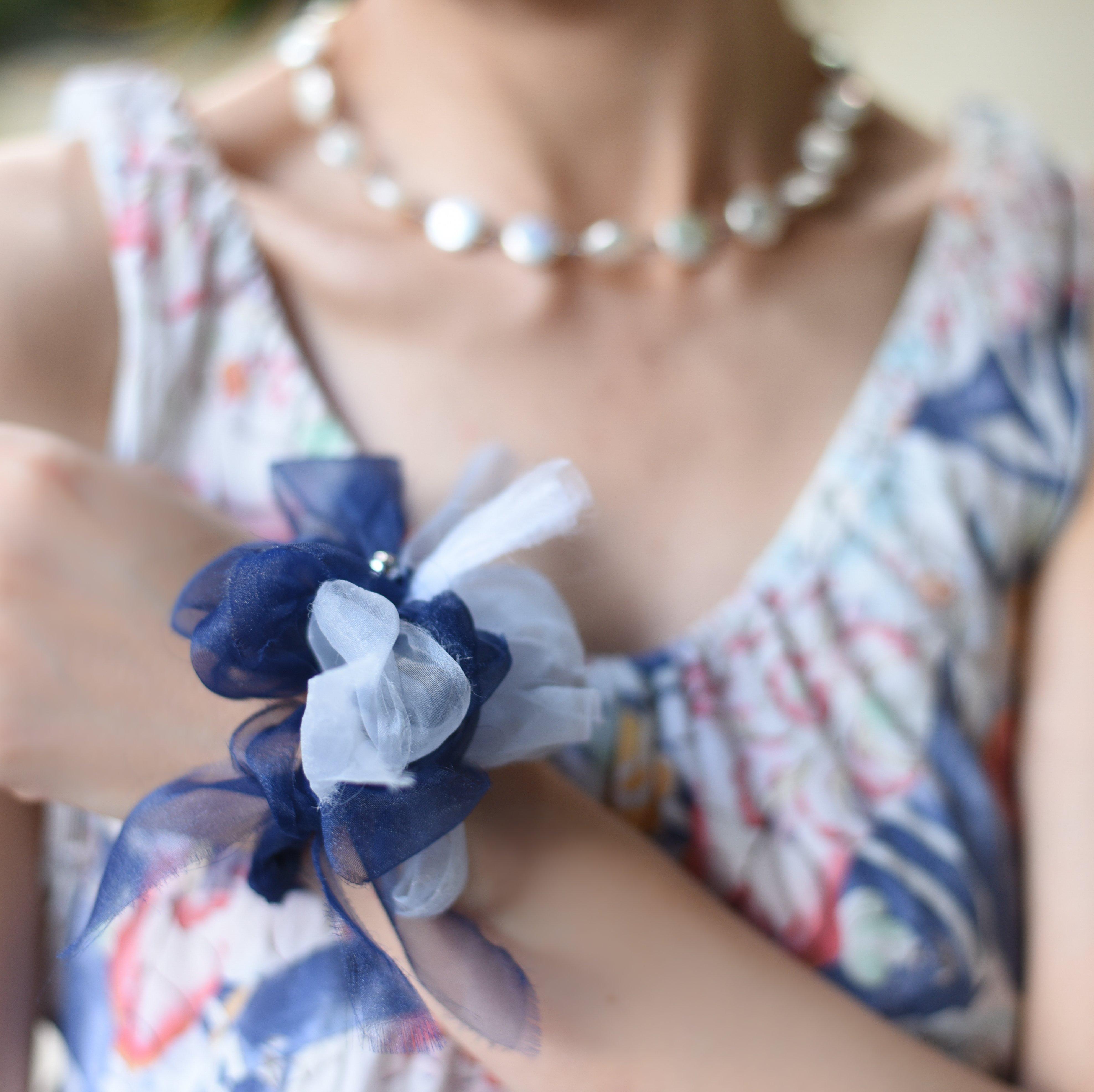 <mini>マリン~彩る咲き編みシュシュ