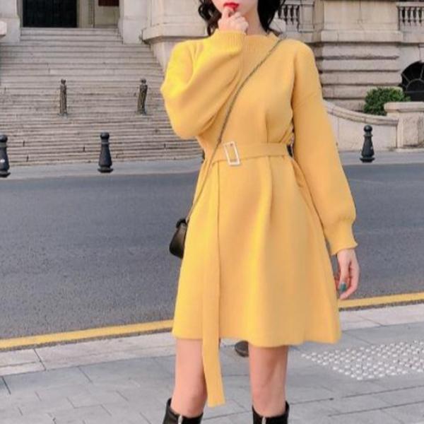 【dress】着痩せ無地ラウンドネックデートワンピース25734327