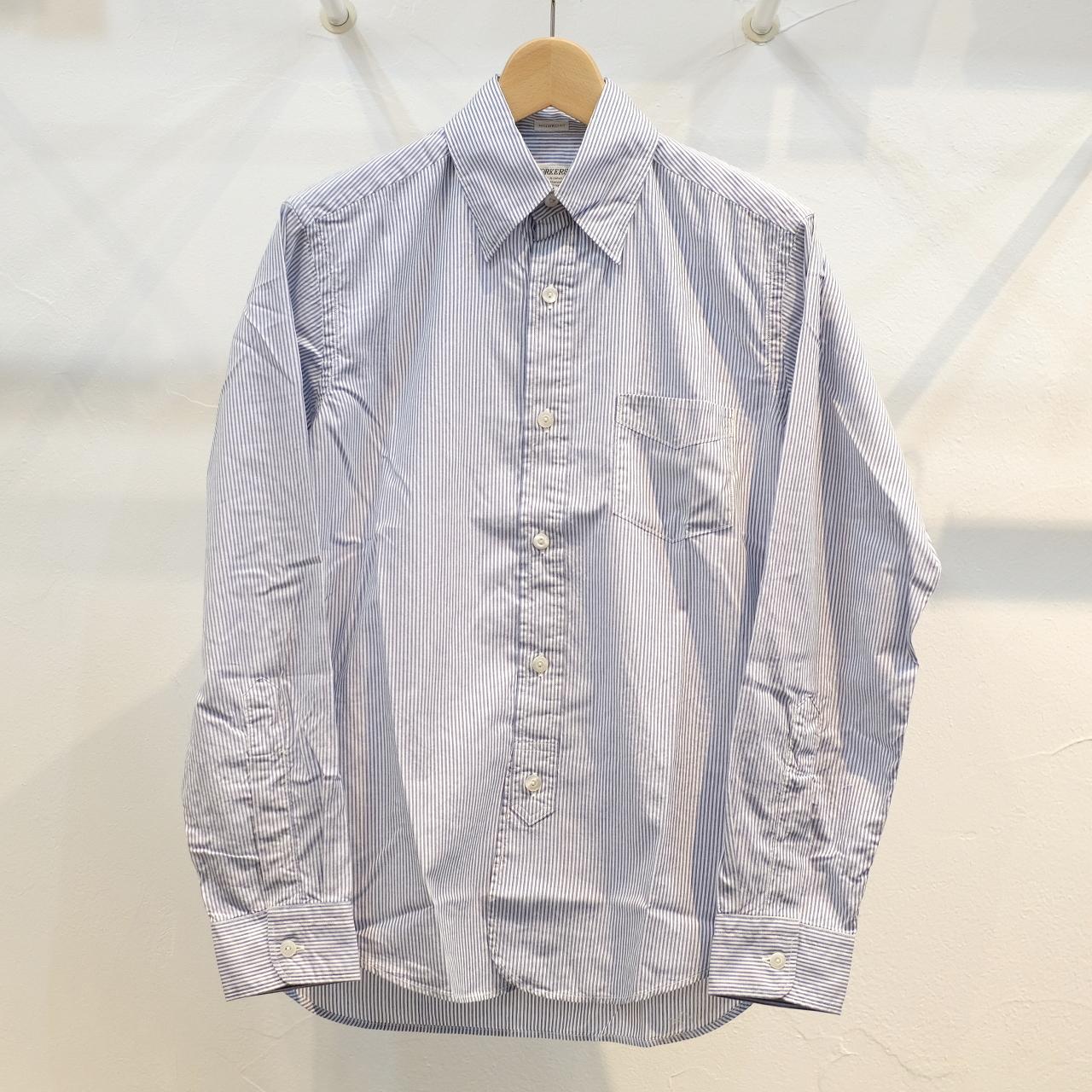 Workers(ワーカーズ) Lot20 ヒドゥンボタンダウンシャツ ブルーストライプ