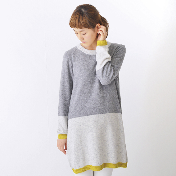 Color Block Long Pullover(グレー)