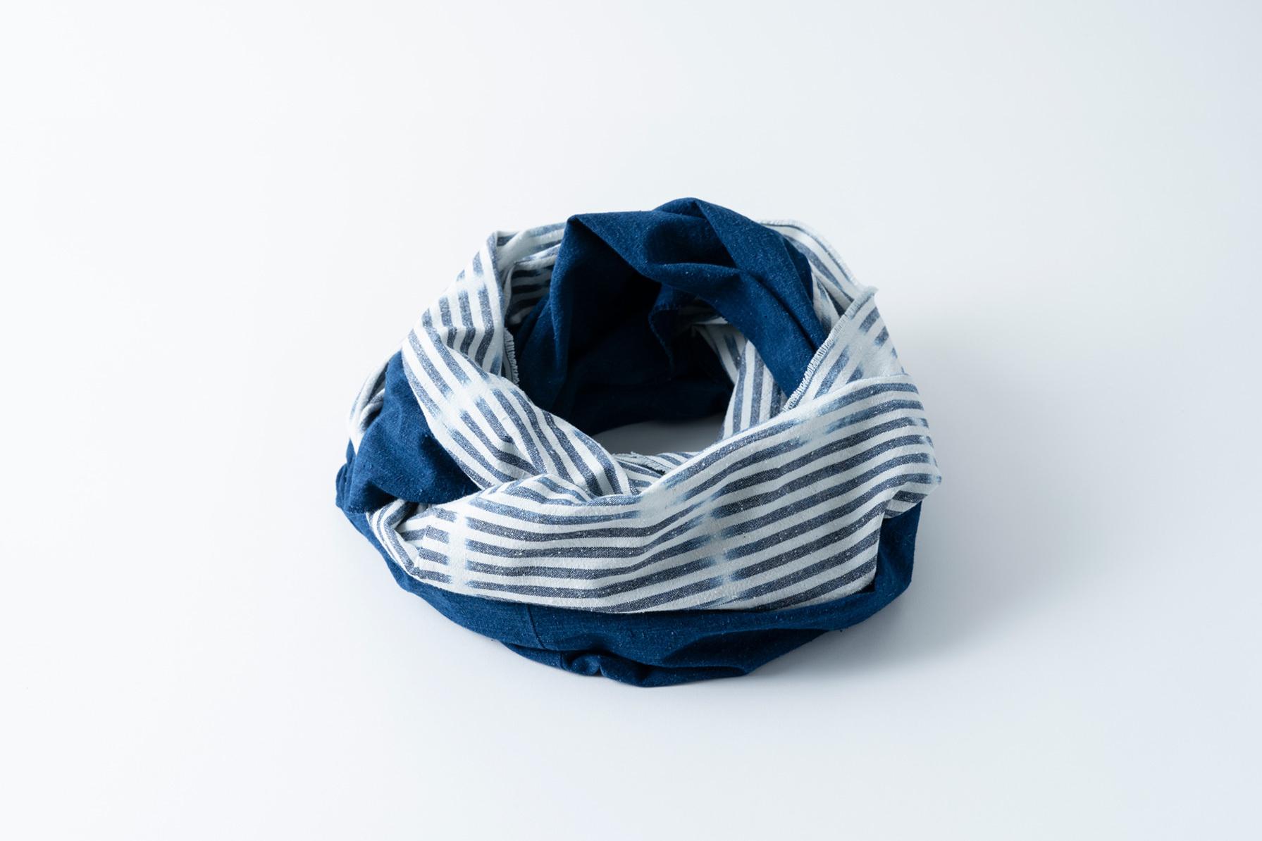 007. 白絣 × 藍 - bicolour whitecaps | snood