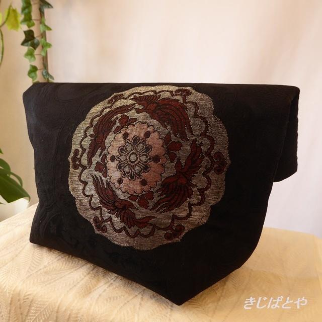 和裁士さんが考えたバッグインバッグ 黒地に丸紋