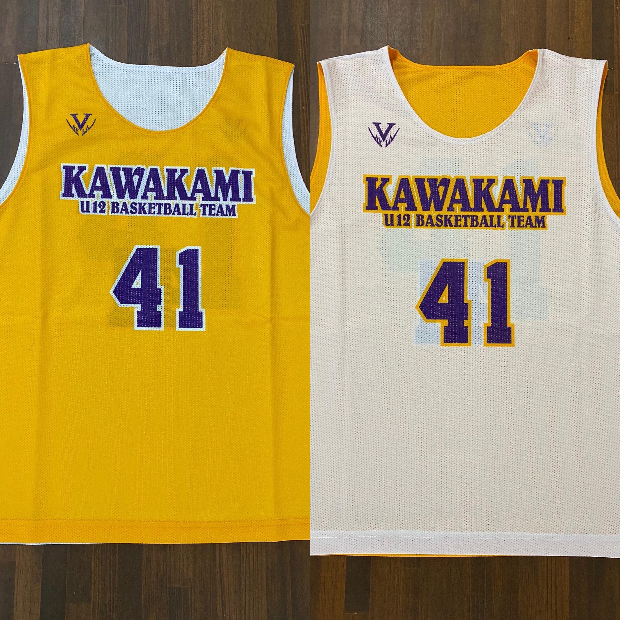 【デザインサンプル】川上ミニバスケットボールスポーツ少年団(U12・男子)リバーシブルシャツ