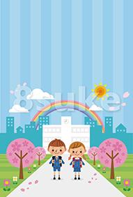 イラスト素材:入学式イメージ/小学生男女・ストライプ(ベクター・JPG)