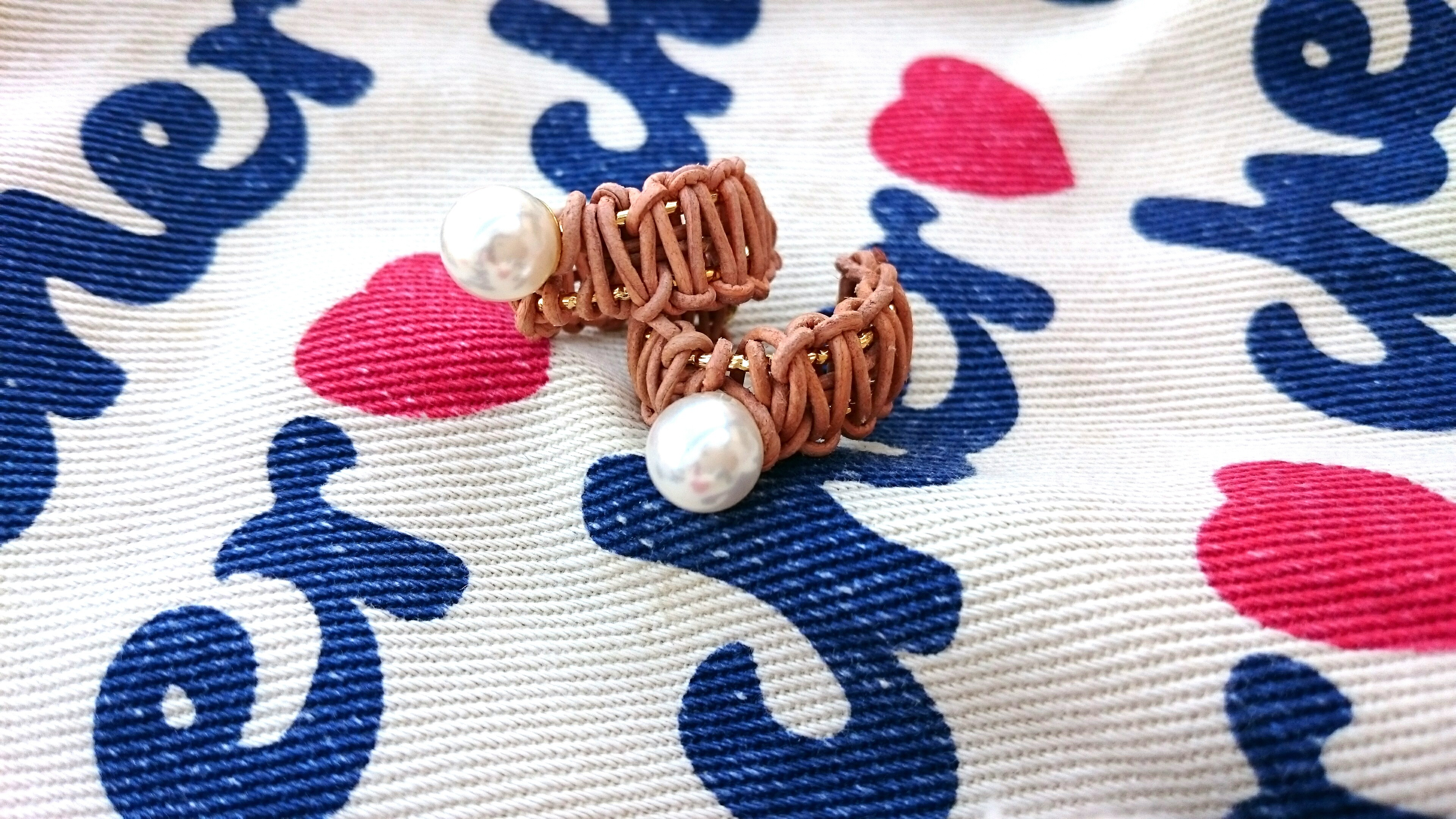 pearl×leather ring