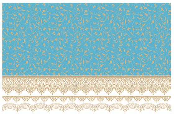 【ガラス用】 アラベスク ブルー A3サイズ(ポーセリンアート用転写紙 モロッカングラス)
