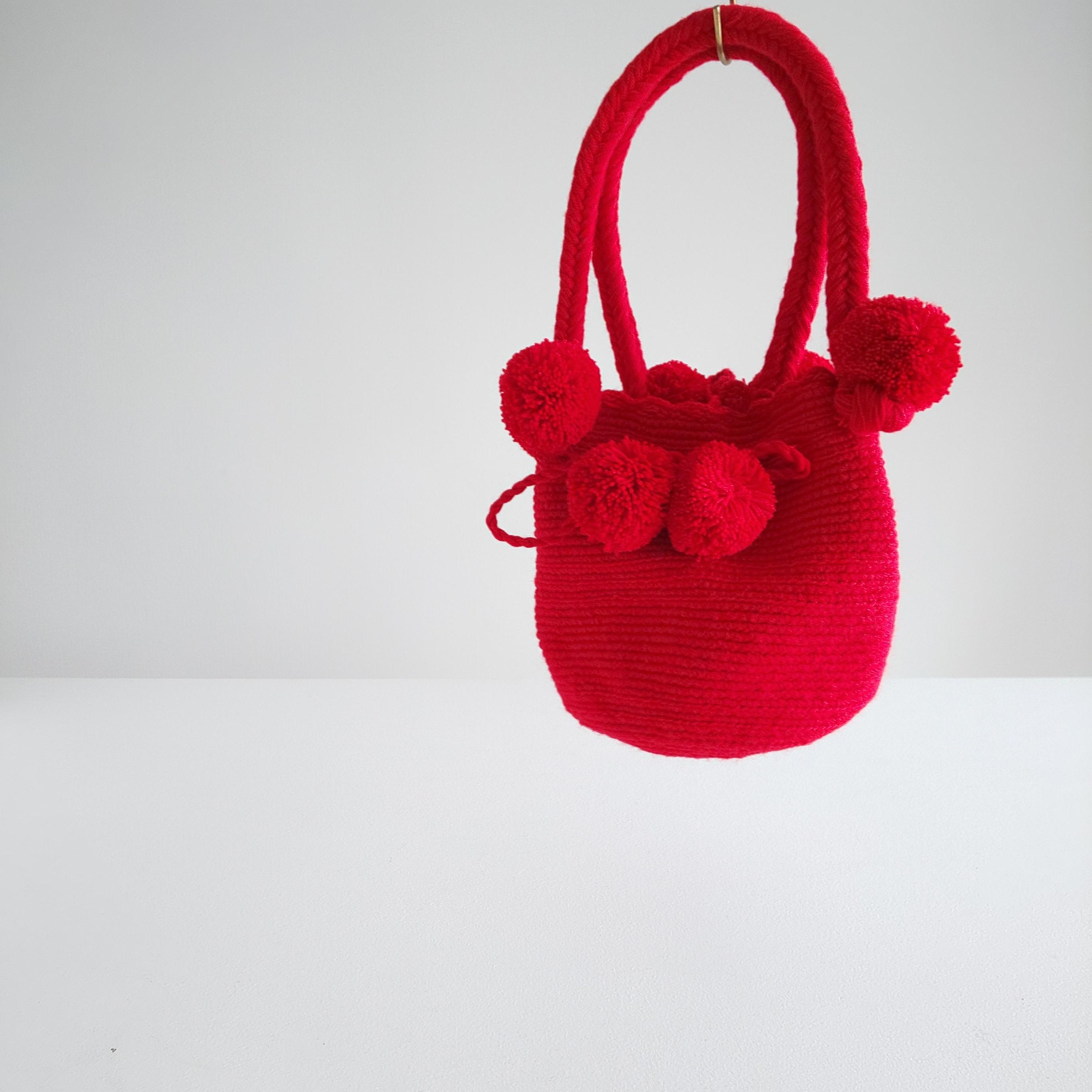 Handmade pom  poms bag - red -