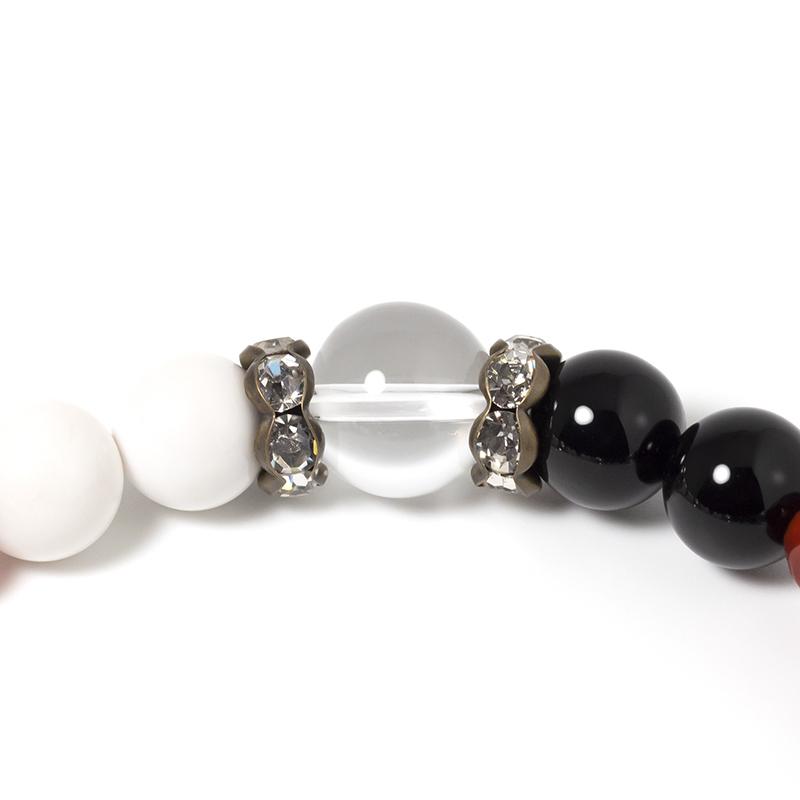 天然水晶,ブラックオニキス,ホワイトオニキス,レッドアゲート,ロンデル パワーストーンブレスレット
