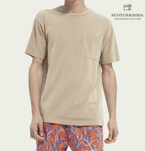 スコッチ&ソーダ SCOTCH&SODA 半袖 Tシャツ クルーネック オーガニックコットン 鹿の子 無地 ルーズフィット Tシャツ Sand 292-34405