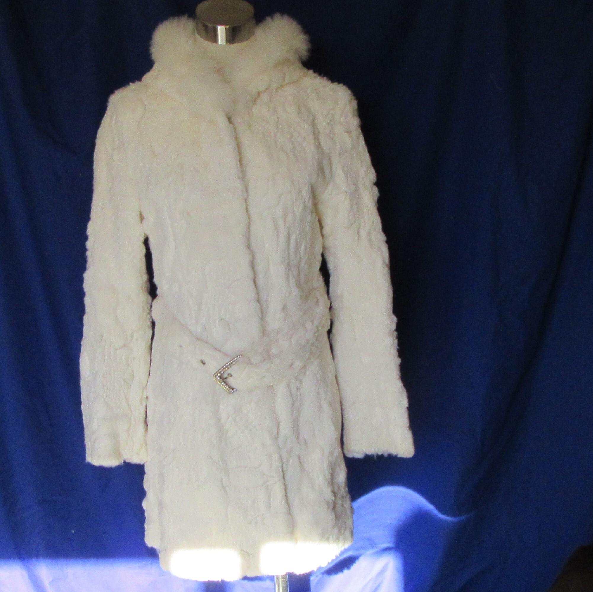 毛皮コート ホワイトフォックスファー 中古 Sサイズ