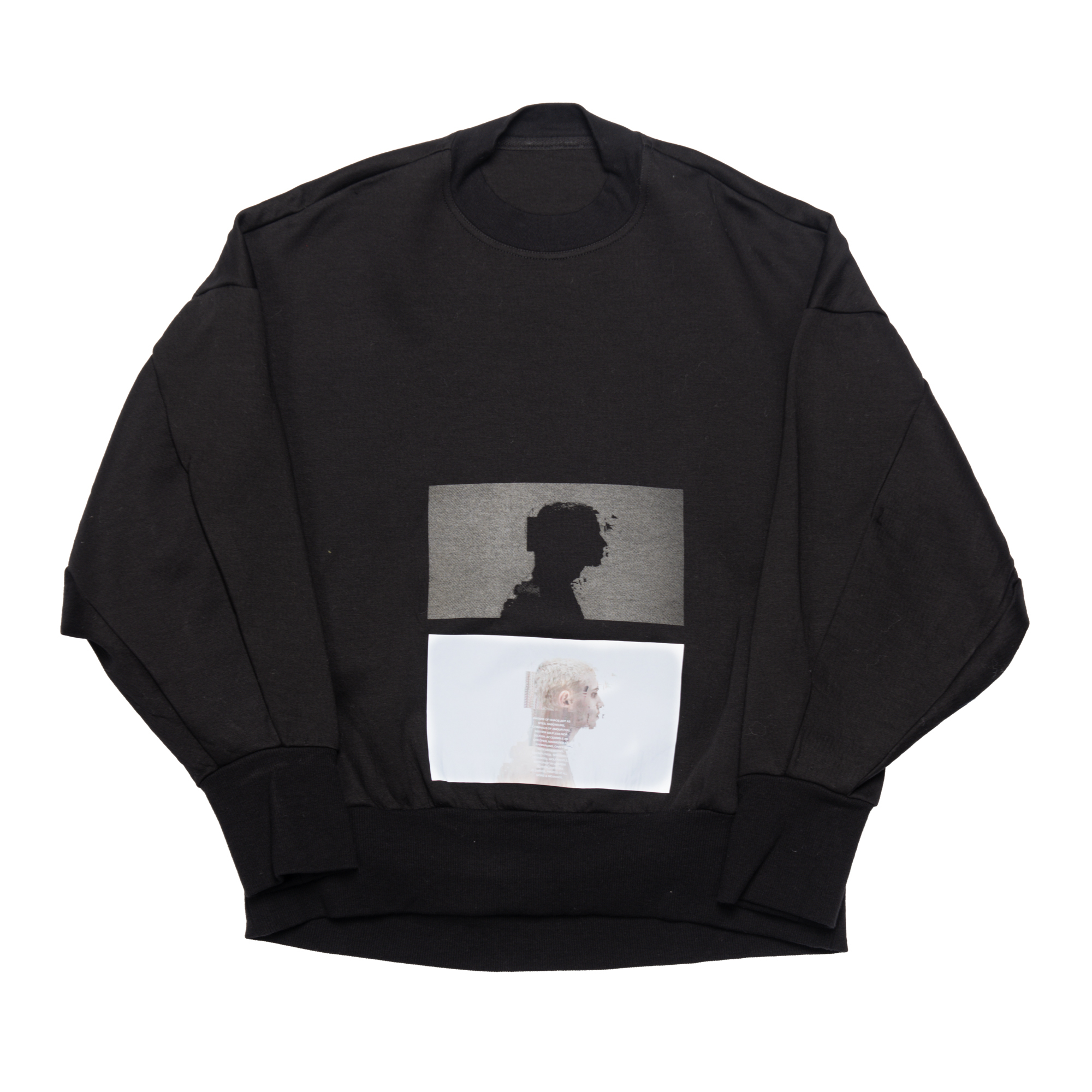 657CPM1-BLACK / シームドスリーブ プリントスウェットシャツ