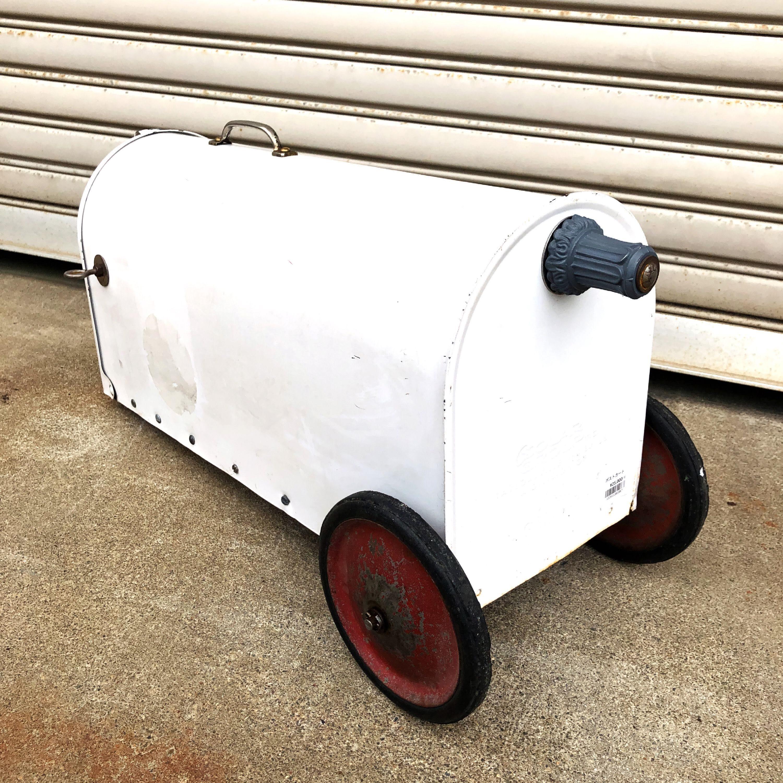 品番1867 ポストカート メール 郵便ポスト タイヤ ローラー ホワイト アイアン ヴィンテージ