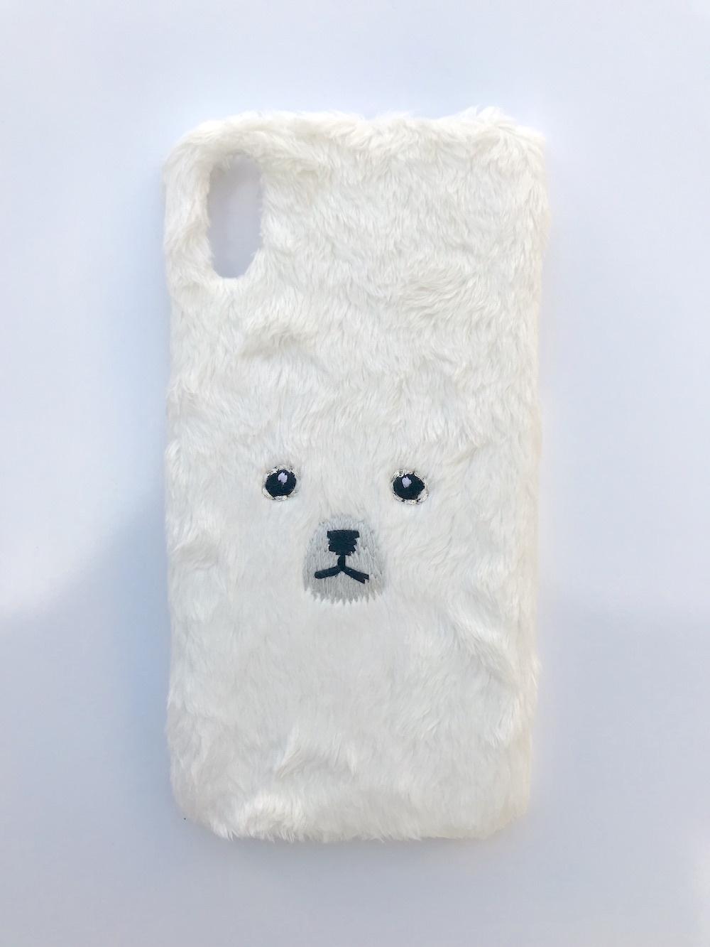 【iPhoneX専用】くまiPhoneケース【ホワイト】